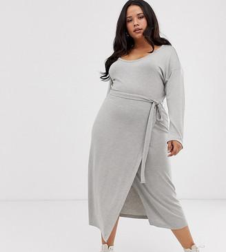 Asos DESIGN Curve long sleeve belted marl jersey knit midi dress-Grey