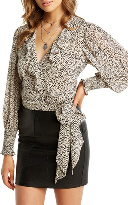 Bardot Diana Long Sleeve Wrap Chiffon Blouse