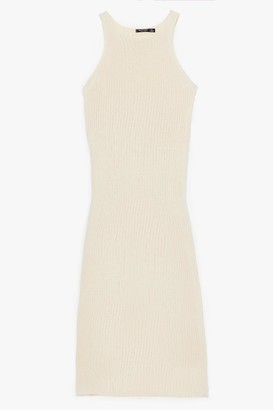 Nasty Gal Womens Recycled Had Knit Coming Racer Maxi Dress - Ecru