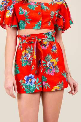 francesca's Melissa Tropical Paperbag Shorts - Bright Red