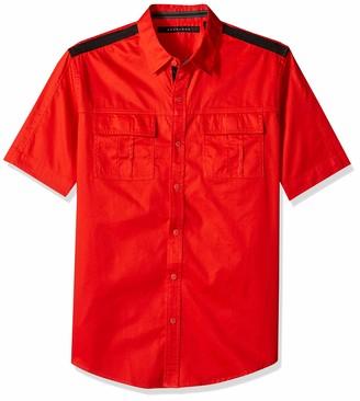 Sean John Men's Short Sleeve Solid Button Down Shirt