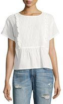 Current/Elliott The Pintuck Ruffle Cotton Top, White