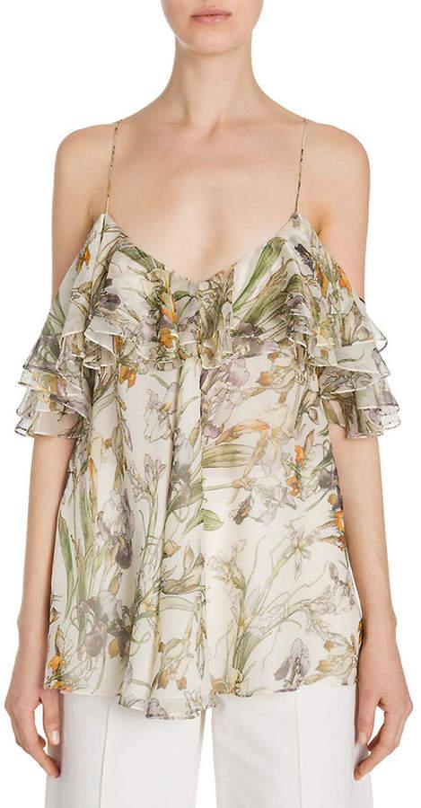 Alexander McQueen Ruffled Floral-Print Silk Cold-Shoulder Top