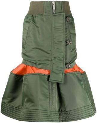 Sacai Deconstructed Peplum-Hem Midi Skirt