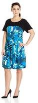 Robbie Bee Women's Plus Size 1 Pc Cap Sleeve Dress