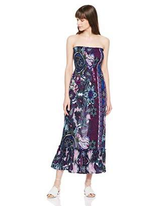 Orchid Row Women's Fashion Printed Spring Summer Maxi Smock Tube Dress and Ruffle Detail S/M