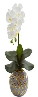 """Nearly Natural 20"""" Phalaenopsis Orchid Artificial Arrangement in Planter with Gold Trimming"""