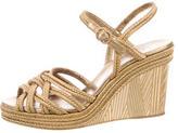 Chanel Metallic Platform Wedge Sandals