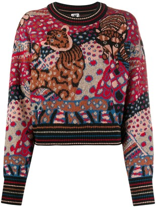 M Missoni Intarsia-Knit Crew Neck Jumper