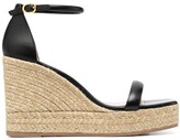 Thumbnail for your product : Stuart Weitzman Two-Strap Leather Espadrille Wedges