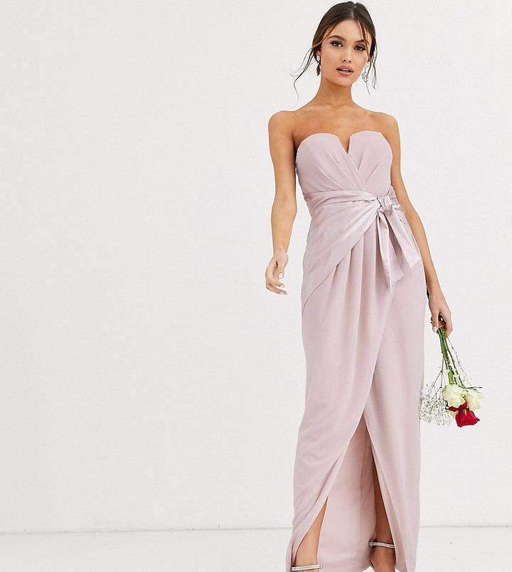 Thumbnail for your product : TFNC Bridesmaid bandeau maxi wrap dress with satin front detail in taupe