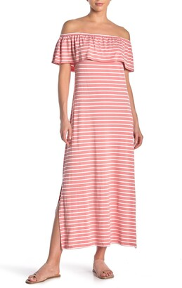 Nina Leonard Col Shoulder Popover Midi Dress