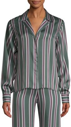 Alexis Samwell Striped Satin Button-Front Shirt