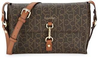 Calvin Klein Logo-Print Faux Leather Crossbody Bag