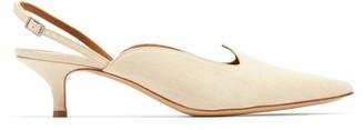 Le Monde Beryl - Point-toe Linen Slingback Pumps - Cream