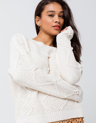 Ivy & Main Cable Pom Womens Chenille Sweater
