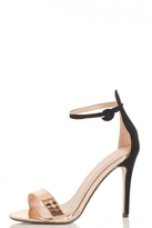 Quiz Rose Gold And Black Metallic Barely There Heels
