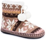Muk Luks Printed Knit Pompom Faux Shearling Lined Bootie Slipper