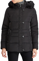 Lauren Ralph Lauren Faux Fur Trim Hooded Jacket, Black
