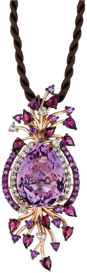 LeVian Le Vian Crazy Collection Multi-Stone Cord Pendant Necklace in 14k Strawberry Rose Gold (18 ct. t.w.)