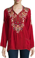 Johnny Was Carnation Long-Sleeve Embroidered Blouse, Plus Size