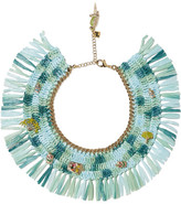 Rosantica Gold-tone, Raffia And Quartz Necklace - Mint