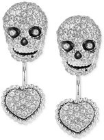Betsey Johnson Silver-Tone Pavé Skull and Heart Front-to-Back Earrings