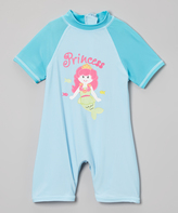 Sweet & Soft Turquoise 'Princess' One-Piece Rashguard - Infant & Toddler