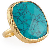Nakamol Adjustable Simulated Turquoise Cocktail Ring