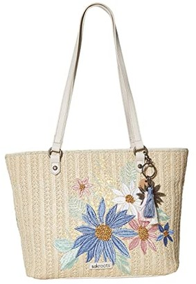 Sakroots Artist Circle Medium Satchel (Pastel Flower Garden) Satchel Handbags
