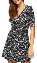 Miss Selfridge Printed Tea Dress Petite, Black/Multi