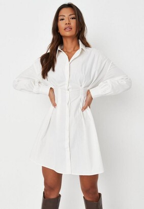 Missguided White Poplin Pleated Waist Shirt Dress
