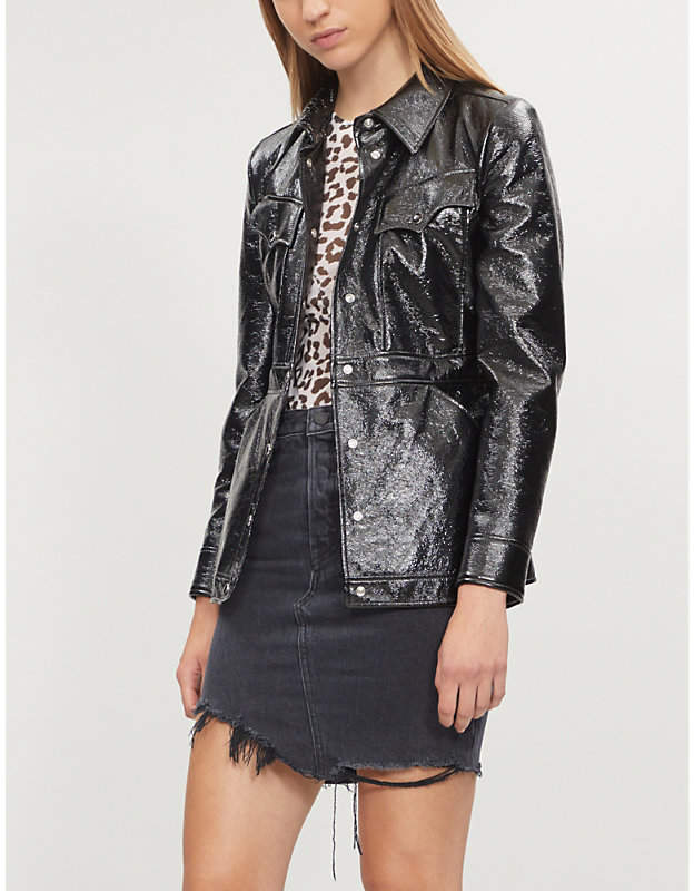 GRLFRND Rhoda high-waist asymmetric denim mini skirt