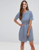 Darling Grid Print Skater Dress