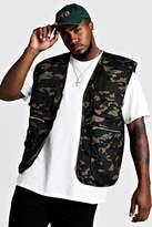 BoohoomanBoohooMAN Mens Multi Big & Tall Cotton Camo Utility Vest, Multi