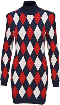 Balmain High Neck Argyle Pattern Knitted Dress