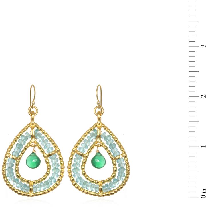 Wendy Mink Double Teardrop Earrings, Apatite & Green Onyx