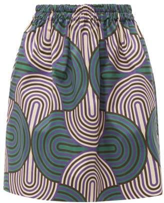 La DoubleJ Pouf Abstract Print Cotton Blend Skirt - Womens - Green Multi