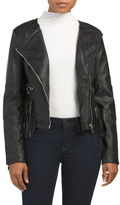 Juniors Faux Leather Fringe Jacket