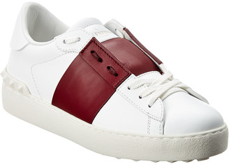 Valentino Rockstud Untitled Open Leather Sneaker