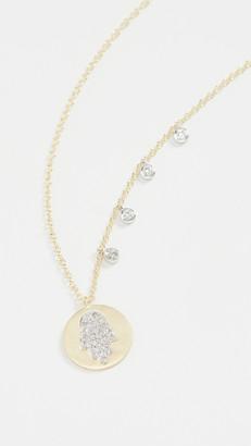 Meira T Pave Hamsa Medallion Necklace