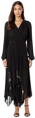 The Kooples Long Pleated Dress (Black) Women's Clothing