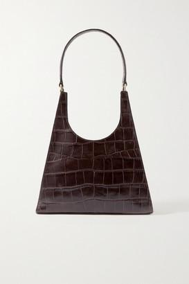 STAUD Rey Croc-effect Leather Tote - Dark brown