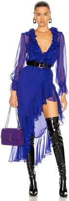 Saint Laurent Long Sleeve Slit Dress in Royal Blue | FWRD
