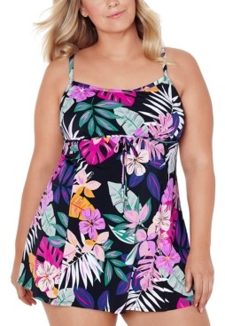 Swim Solutions Plus Size Floral-Print Empire Swimdress, Created for Macy's Women's Swimsuit