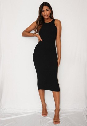 Missguided Black Textured Knit Bodycon Midaxi Dress