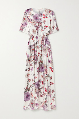 Adam Lippes Shirred Floral-print Silk-satin Maxi Dress - White
