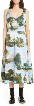 Comme des Garcons Print Satin Sleeveless Midi Dress