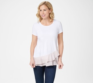 Isaac Mizrahi Live! Short- Sleeve Top with Gingham Ruffles