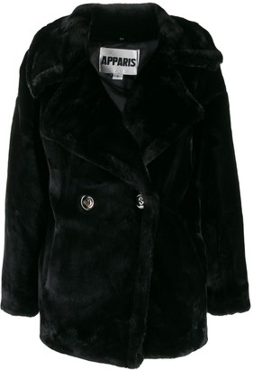 Apparis double-breasted faux-fur coat